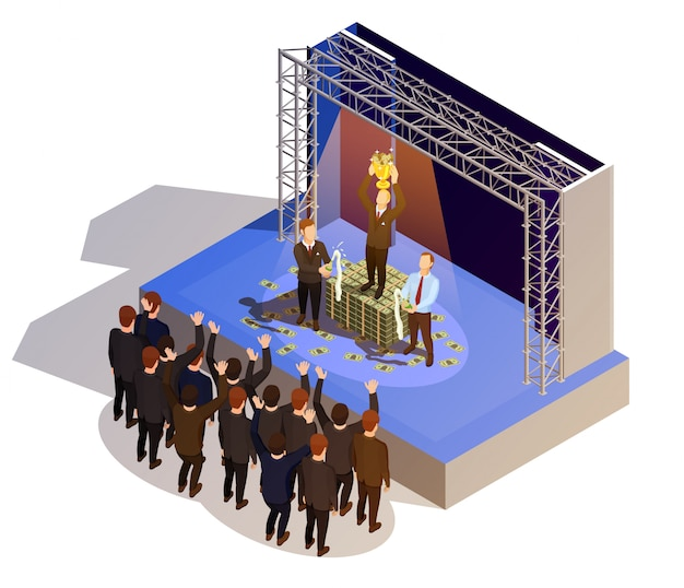 Business award winner podium isometric isometric image Free Vector