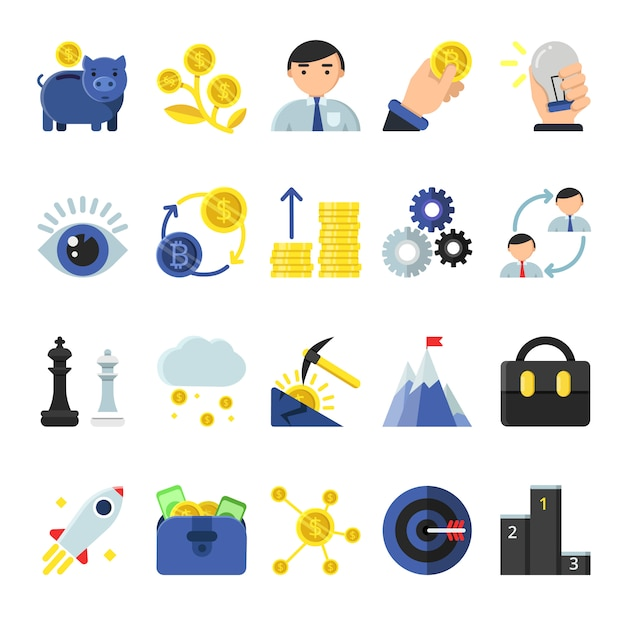 Business b2b symbols in flat style. icons of management and finances Premium Vector