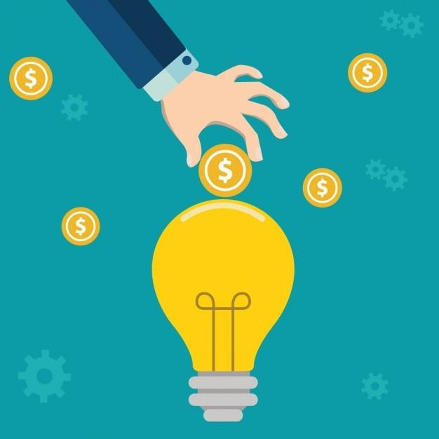 Light Bulb With People Inside Logo: Business Background Design