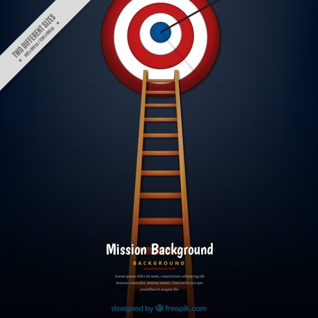 Business background with ladder and a\ dartboard