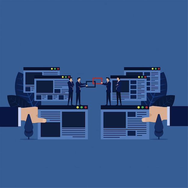 Business backlink for building websites for search engine optimization. Premium Vector