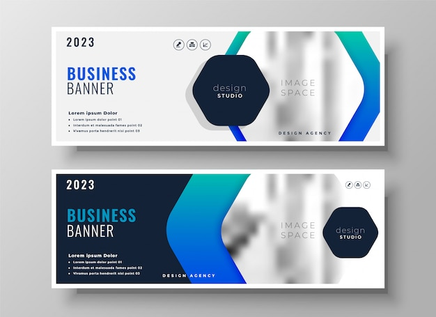 Business banner  in blue theme Free Vector