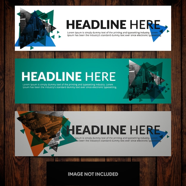 Business banner design templates with cityline and triangles on teal blue grey and white backgrounds