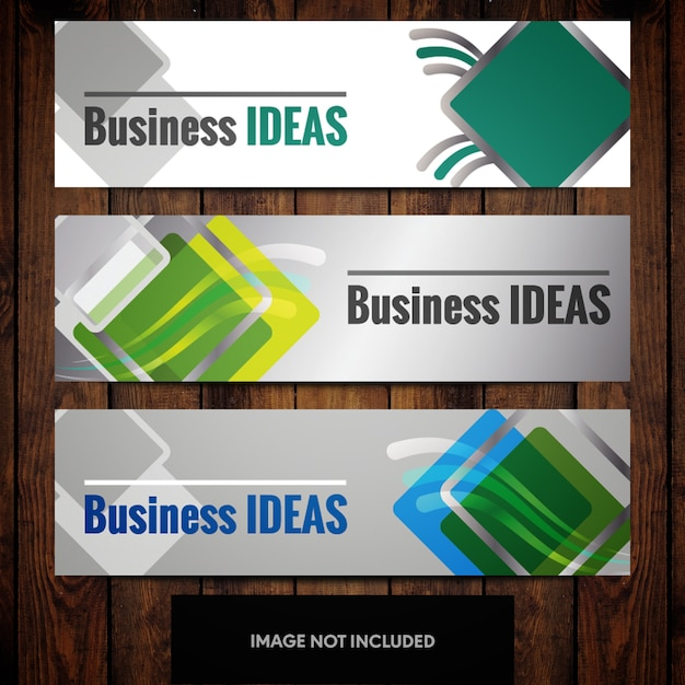 Business banner design templates with green and blue squares on grey background