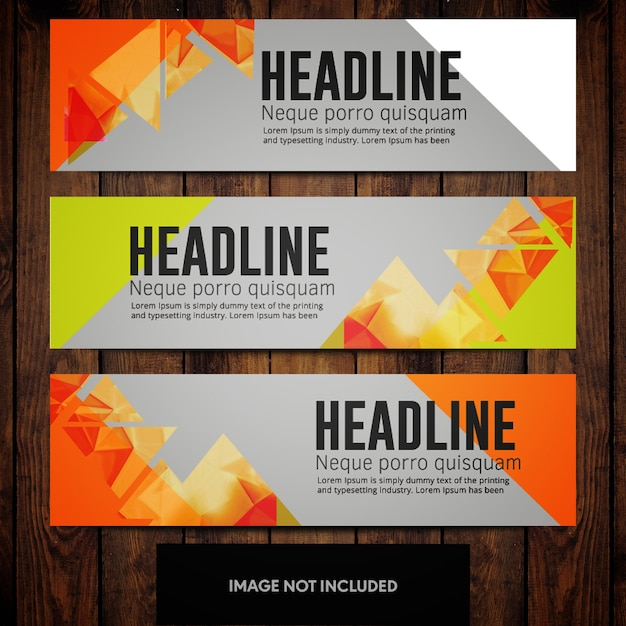 Business banner design templates with orange triangles on ...