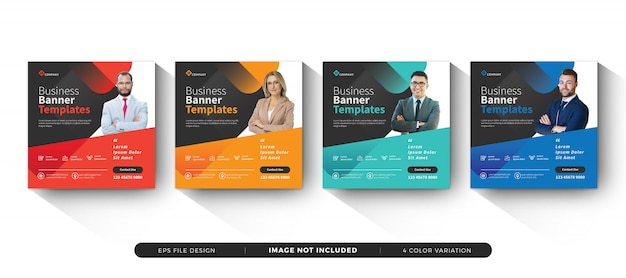 Business banner template social media set Premium Vector