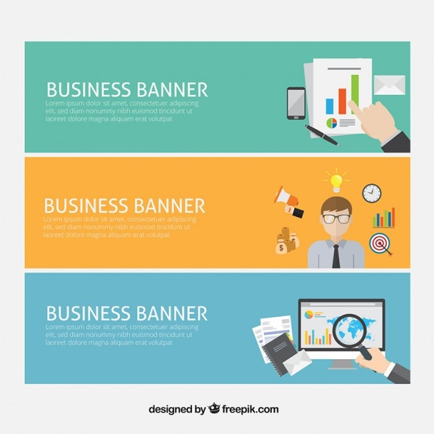 Business banners with company elements in flat design ...