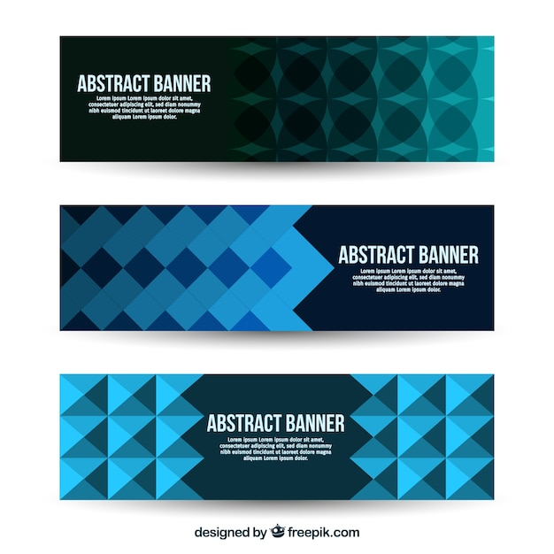 Business banners with geometric shapes