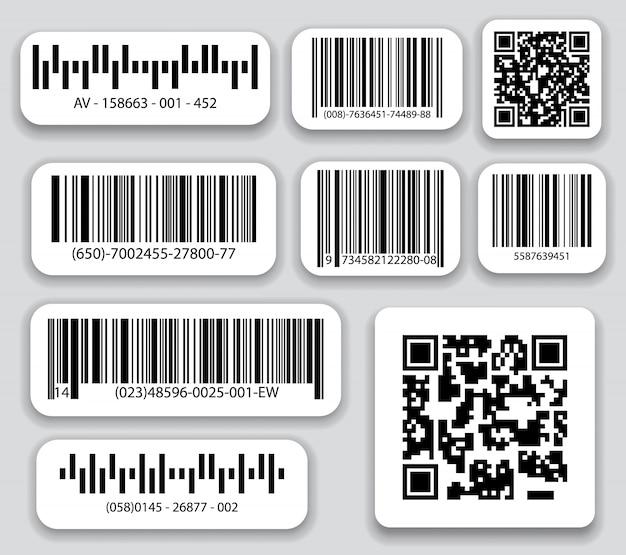 ビジネスバーコードとqrコードはベクターセットです。デジタル識別用のブラックストライプコード、リアルなバーコード。 Premiumベクター