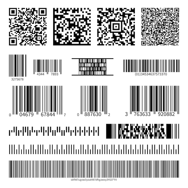 Business barcodes and qr codes vector set Premium Vector