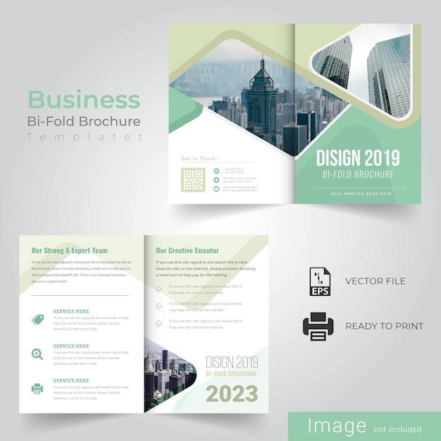 Business bi fold brochure Premium Vector