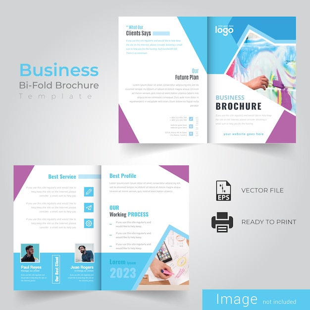 Business bi fold brochure Premium Vector
