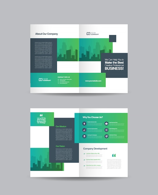 Business bifold brochure design Premium Vector