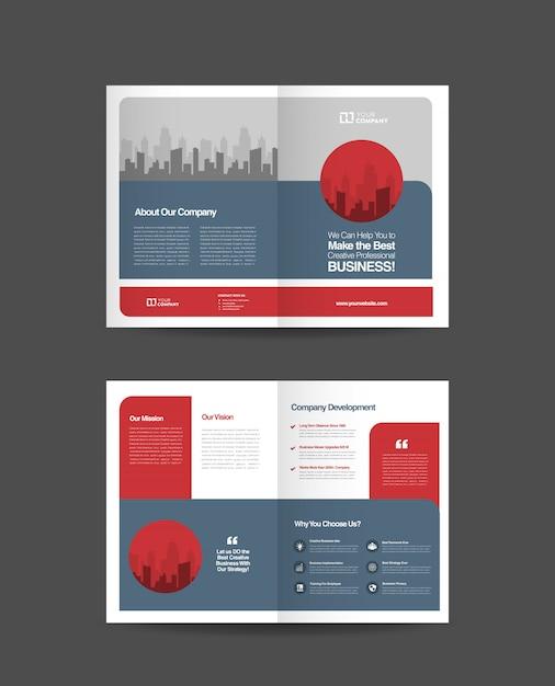 Business bifold brochure design Premium Vector