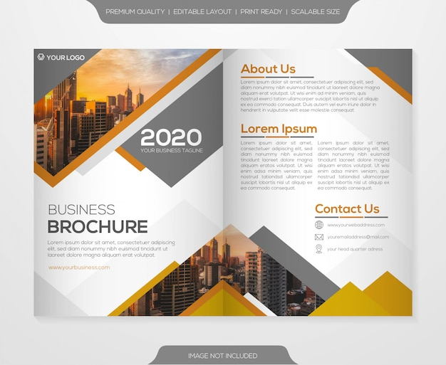 Business bifold brochure template Premium Vector