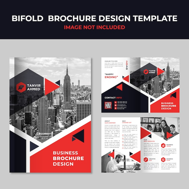 Business bifold brochure template Premium Vector