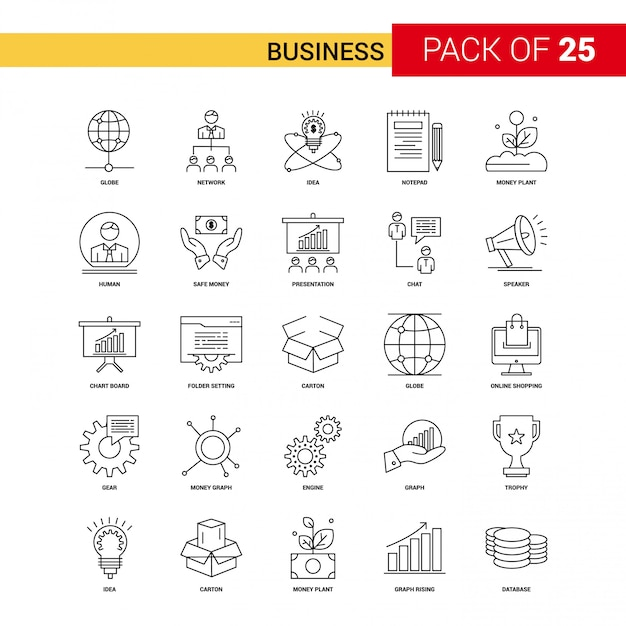 Business Black Line Icon - 25 Business Outline Icon Set Free Vector