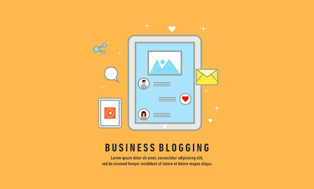 Business blogging, commercial blog posting, internet blogging service flat design vector illustration Premium Vector