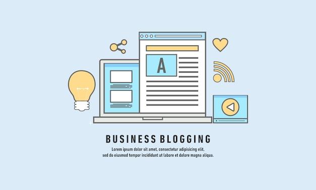 Business blogging, commercial blog posting, internet blogging service flat design vector illustration Premium Vector