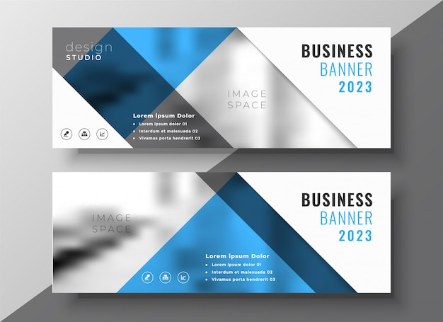 Business blue flyer banner template design Free Vector