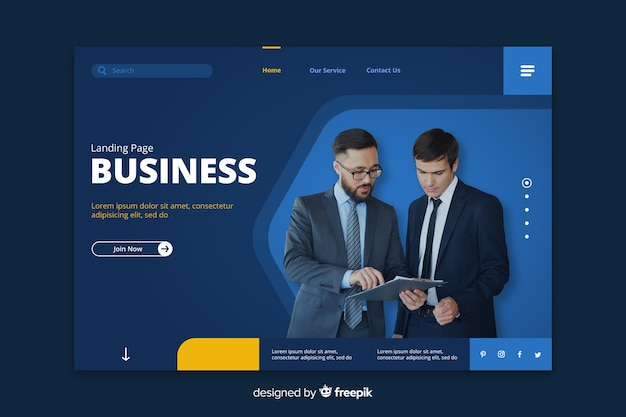 Business blue landing page with businessmen Free Vector