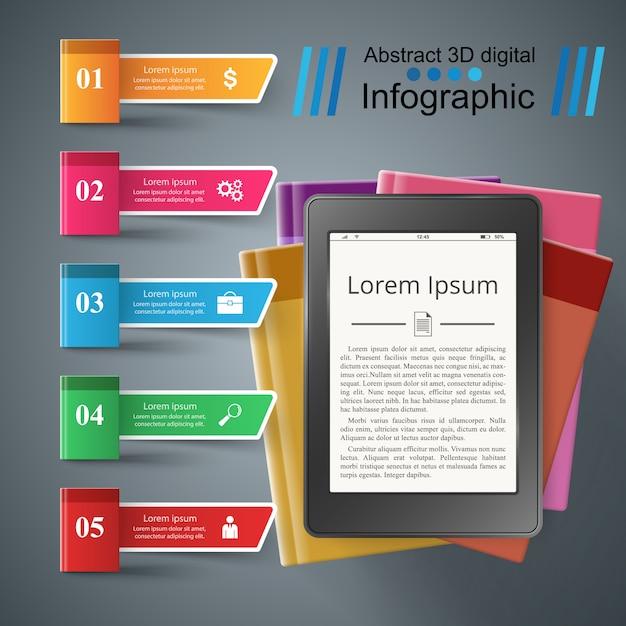 Business book infographic. digital gadget Premium Vector
