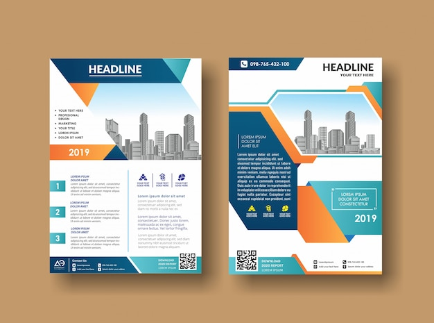 Business book leaflet cover design in a4 magazines Premium Vector