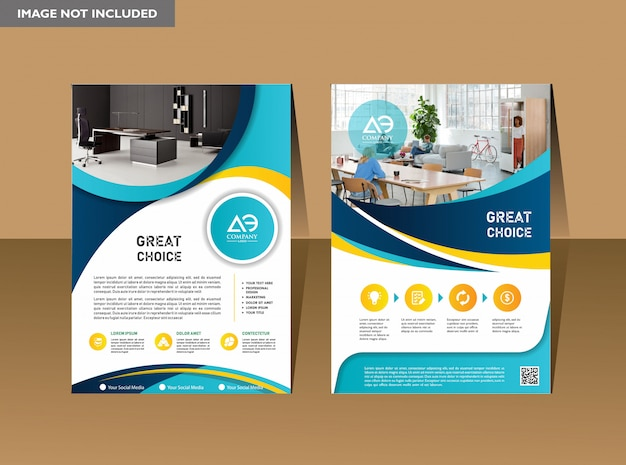 Business book leaflet cover design in a4 Premium Vector