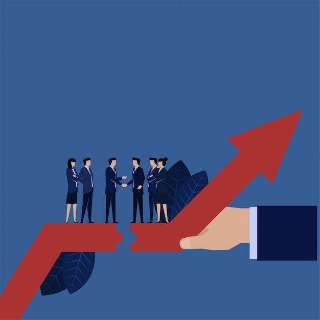 2社間の合意のための財務上の利益を上げるビジネス上司の握手。 Premiumベクター