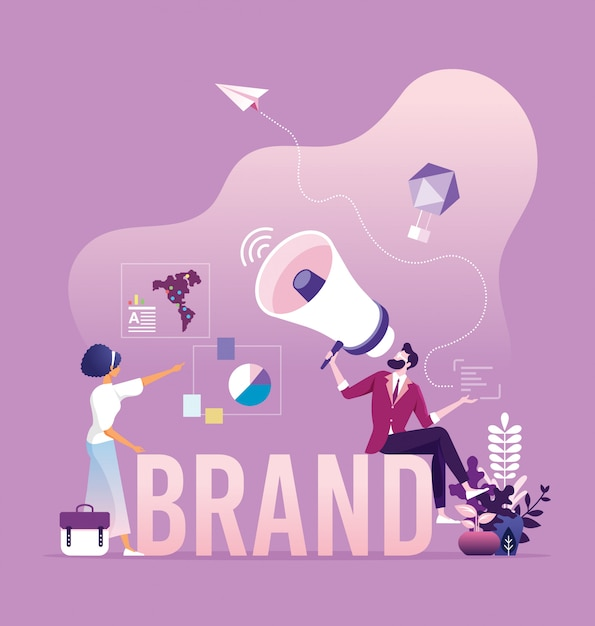 Business branding and marketing concept Premium Vector