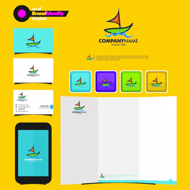 Business branding template with boat logotype, business card, leaflet and smartphone Premium Vector
