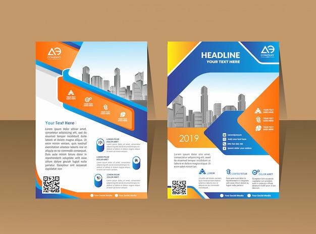 Business brochure background design template flyer layout Premium Vector