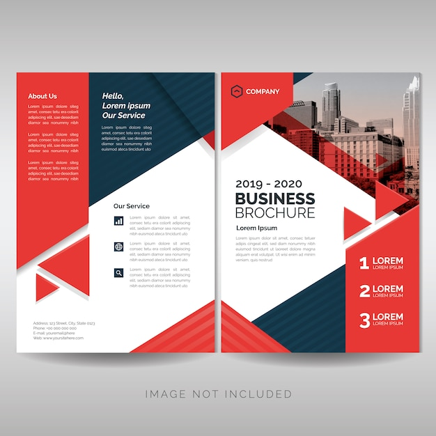 Business brochure cover layout template with red triangles Premium Vector