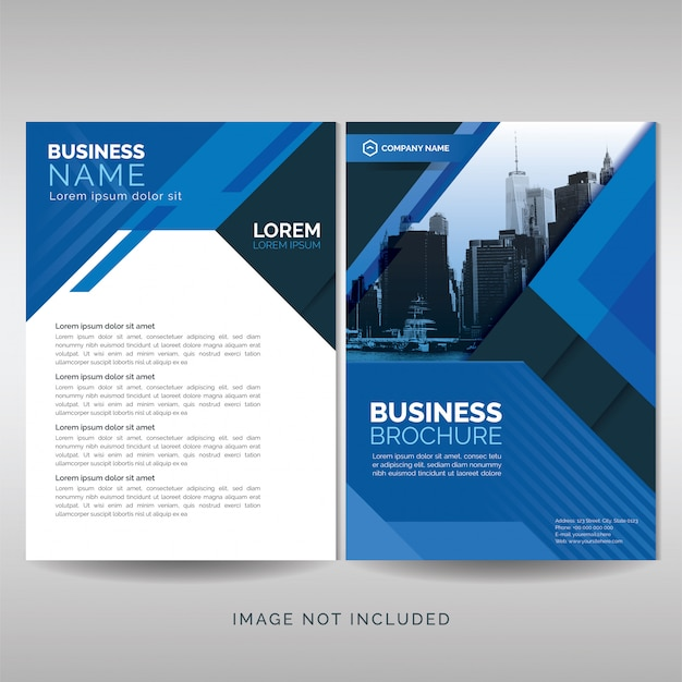 Business brochure cover template with blue geometric shapes Premium Vector
