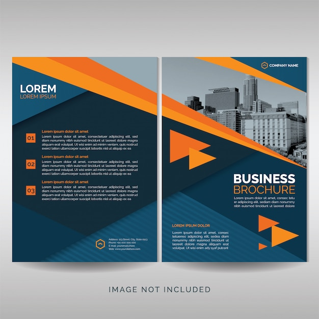 Business brochure cover template with orange details Premium Vector