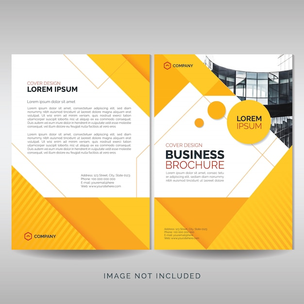 Business brochure cover template with yellow geometric shapes Premium Vector