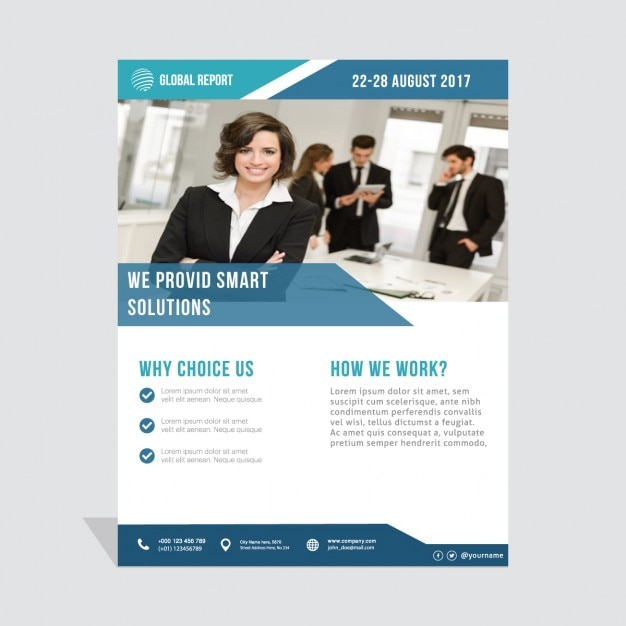 Business brochure, dark blue Free Vector