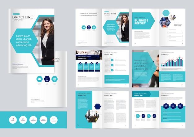 ビジネスパンフレットデザインテンプレート Premiumベクター