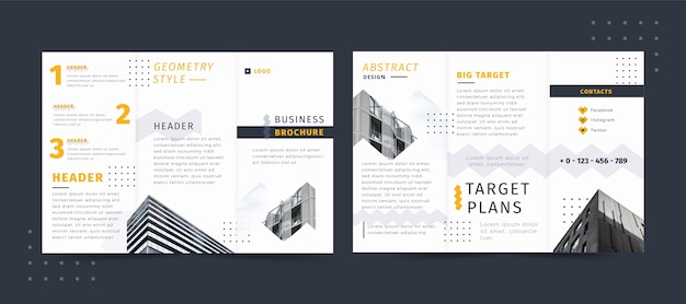 Бизнес брошюра геометрический стиль Бесплатные векторы