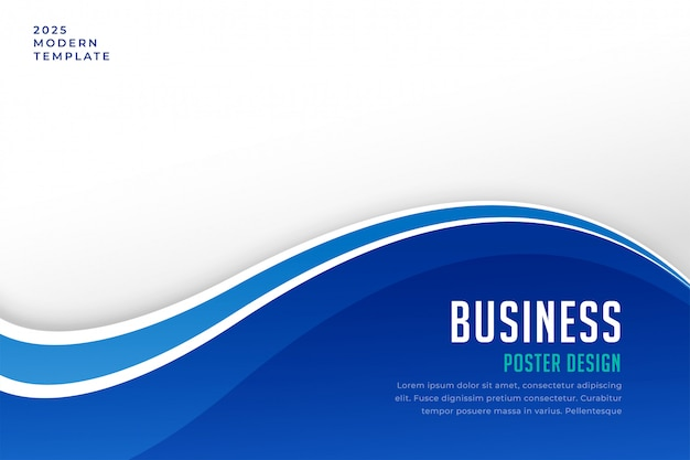 Business brochure presentation template in blue wave style Free Vector