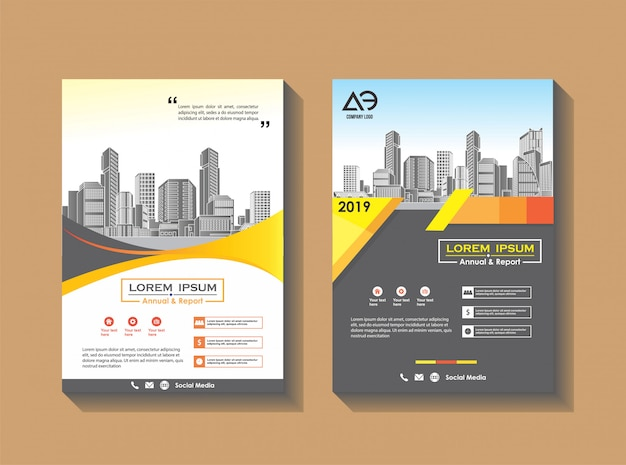 Business brochure template company profile magazine Premium Vector