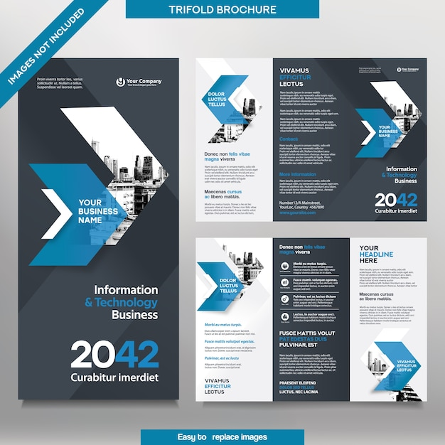 Шаблон бизнес-брошюры в тройном макете. брошюра о корпоративном дизайне со сменным изображением. Premium векторы