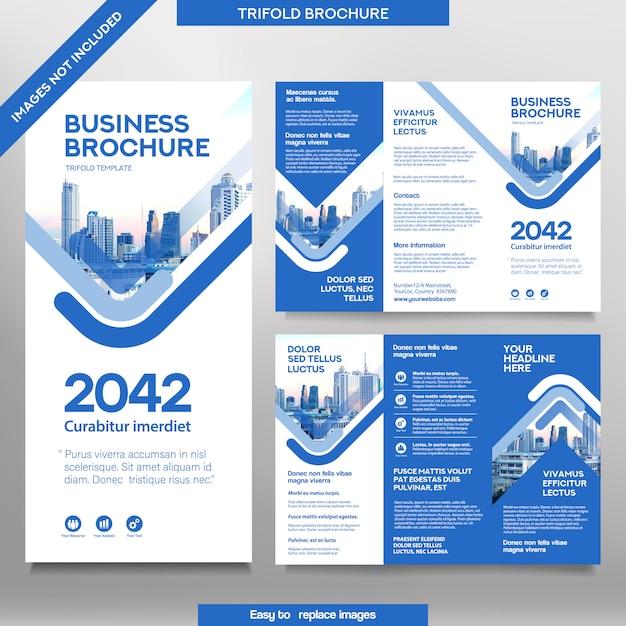 Шаблон бизнес-брошюры в три раза. Premium векторы