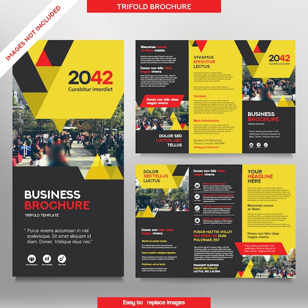 Business brochure template in tri fold layout. corporate design leaflet with replacable image. Premium Vector