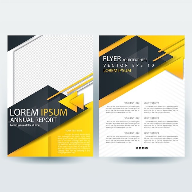 Business brochure template with black and yellow triangle for Black brochure template