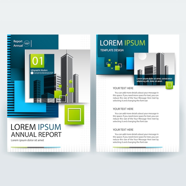 Business brochure template with Blue and Green Geometric shapes
