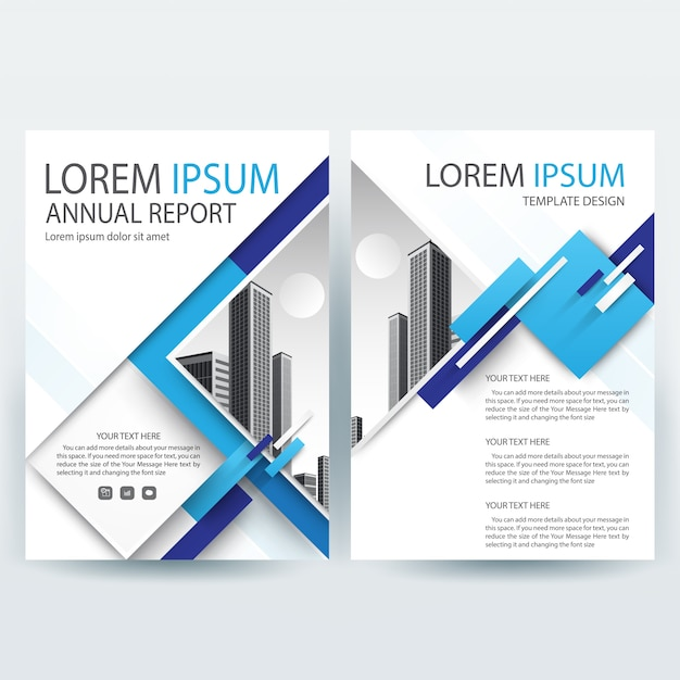 Business brochure template with Blue Geometric shapes Vector | Free ...