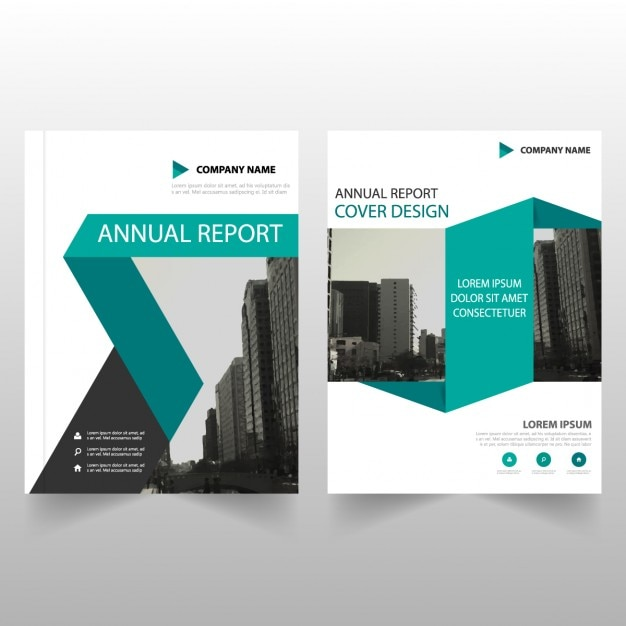 Business brochure template with blue ribbons vector free for Company brochure template