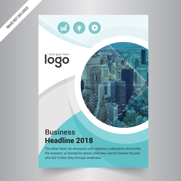 business brochure template with circle shape premium vector