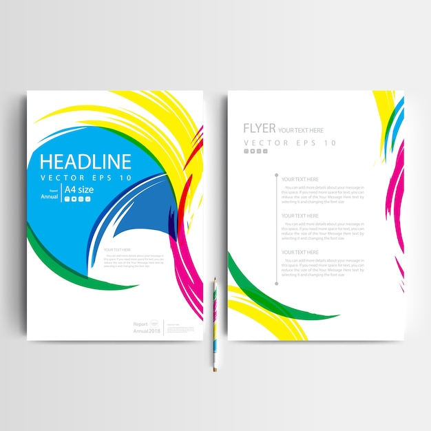 business brochure template with colorful brush vector free download rh freepik com